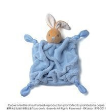Plüss nyuszi babusgatásra Plume-Blue Rabbit Doudou Kaloo 20 cm ajándékcsomagolásban legkisebbeknek kék