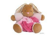Iepuraș de pluș cu zornăitoare Plume-Patchwork Pink Rabbit 30 cm roz în cutie de cadou pentru cei mai mici