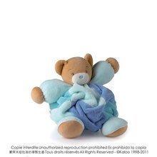 Plyšový medvedík Plume-Patchwork Blue Bear Kaloo s hrkálkou 30 cm v darčekovom balení pre najmenších modrý