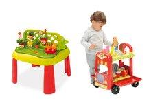 Set dětský stůl Zahradník De Jardinage 2v1 Smoby s plotem a vozík se zmrzlinou a hamburgery od 2 let