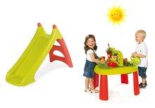 Set detský stôl Záhradník De Jardinage 2v1 Smoby s plotom a šmykľavka Toboggan XS s vodou dĺžka 90 cm od 2 rokov
