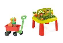 Set detský stôl Záhradník De Jardinage 2v1 Smoby s plotom a vozík na ťahanie s vedro setom od 2 rokov