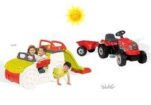 Smoby 840200-16 szett mászóka Adventure Car csúszdával és traktor RX Bull pótkocsival 2 éves kortól