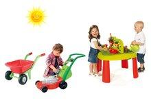 Set dětský stůl Zahradník De Jardinage 2v1 Smoby s plotem, sekačka a kolečko se dvěma koly od 2 let