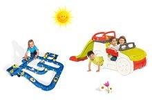 Set preliezačka pre deti Adventure Car Smoby so šmykľavkou dlhou 150 cm a vodná hra Waterplay Niagara od 2 rokov