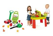 Set dětský stůl Zahradník De Jardinage 2v1 Smoby s plotem a sekačka, vysavač na listí a vozík 3v1 od 2 let