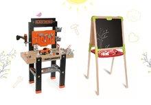 Set pracovná dielňa pre deti Black+Decker Smoby s vŕtačkou a drevená magnetická tabuľa obojstranná