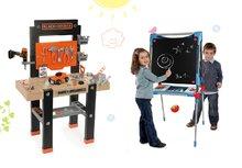 Set pracovná dielňa pre deti Black+Decker Smoby s vŕtačkou a magnetická obojstranná tabuľa polohovateľná so skrinkou
