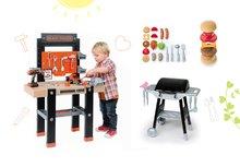 Set bancă de lucru Black&Decker Smoby cu maşină de găurit şi bucătărie Barbecue Grill pe roţi