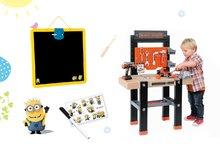 Set pracovná dielňa pre deti Black+Decker Smoby s vŕtačkou a magnetická obojstranná tabuľa Mimoni