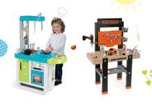 Set pracovná dielňa pre deti Black+Decker Smoby s vŕtačkou a kuchynka Cherry Kitchen so zvukmi a kávovarom