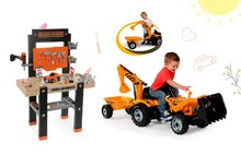 Smoby 360701-11 set detská pracovná dielňa s vŕtačkou Black+Decker a žltý traktor s prívesom a bagrom