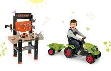 Smoby 360701-12 set detská pracovná dielňa s vŕtačkou Black+Decker a zelený traktor Claas GM s prívesom