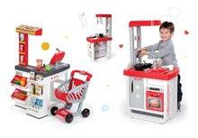 SMOBY 350203-3 szupermarket Supermarket elektronikus pénztárgéppel + gyerekkonyha Bon Appétit hangokkal és kávéfőzővel