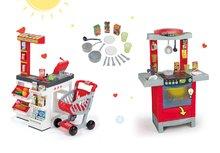 Set detský obchod Supermarket Smoby s elektronickou pokladňou a kuchynka Cook'Tronic Tefal so zvukmi