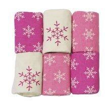 Flanelové plienky toTs-smarTrike vločky 6 kusov 100% česaný bavlnený flanel ružové