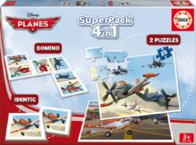 Detské puzzle Lietadlá SuperPack 4v1 Educa progresívne 2x puzzle, domino, pexeso