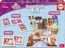 Detské puzzle Sofia Prvá SuperPack 4 v 1 Educa progresívne 2x puzzle, domino, pexeso