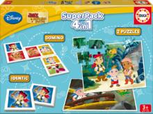 Detské puzzle Jake a Piráti z Krajiny nekrajiny SuperPack 4 v 1 Educa progresívne 2x puzzle, domino, pexeso