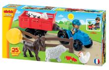 ÉCOIFFIER 3246 Abrick stavebnica traktor s vlečkou a zvieratkami 25ks od 18 mesiacov