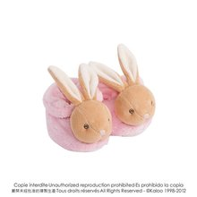 Plyšové papučky Plume-Rattle Booties Pink Kaloo s hrkálkou 10 cm v darčekovom balení pre najmenších ružové