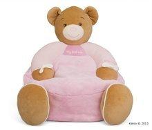 Detské kreslo plyšový medvedík Plume-Maxi Sofa Pink Bear Kaloo 45 cm pre najmenších ružové