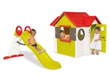 Set domček pre deti My House Smoby s elektronickým zvončekom a šmykľavka Toboggan Funny s dĺžkou 2 m od 2 rokov