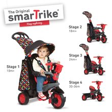 Tricikli Boutique Red Touch Steering 4in1 smarTrike 10 hónapos kortól fekete-piros