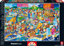 EDUCA 16001 Puzzle Genuine Barcelona, Philip Stanton, 1500 ks + Fix Puzzle lepidlo