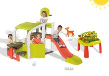 Set hrací centrum Fun Center Smoby se skluzavkou dlouhou 150 cm a stůl Zahradník 2v1 od 2 let