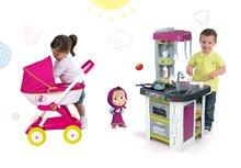 Set detská kuchynka Tefal Studio BBQ Bublinky Smoby s magickým bublaním a hlboký kočík pre bábiku Máša a medveď (58 cm rúčka)