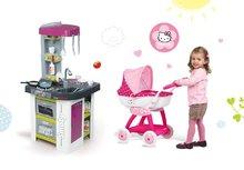 Set kuchynka pre deti Tefal Studio BBQ Bublinky Smoby s magickým bublaním a hlboký kočík pre bábiku Hello Kitty (55 cm rúčka)