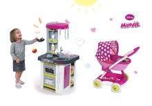 SMOBY 311006-11 szürke-lila játékkonyha Tefal Studio Barbecue forrással grillel és mély babakocsi Minnie (58 cm tolókar)