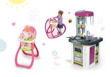 Kuchynky pre deti sety - Set kuchynka Tefal Studio BBQ Bublinky Smoby s magickým bublaním a jedálenská stolička pre bábiku Baby Nurse_22