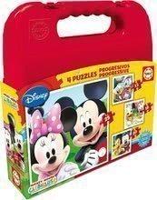 Gyerek puzzle Mickey Mouse kofferben Educa progresszív 25-20-16-12 db 24 hónapos kortól
