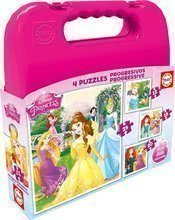 EDUCA 16508 progressive 4 puzzles Cases - Disney Princess  25, 20, 16, 12 dielikov od 24 mesiacov
