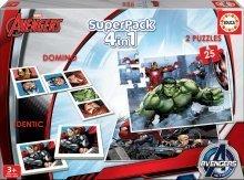 Dětské puzzle Avengers SuperPack 4 v 1 Educa progresivní 2x puzzle, domino a pexeso