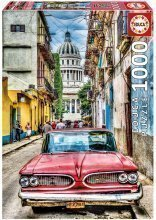 Puzzle Genuine Vintage car in old Havana Educa 1000 de piese de la 12 ani