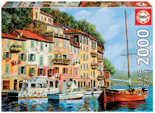 Puzzle Genuine La Barca rossa alla Calata, Guido Borelli Educa 2000 de piese