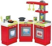 Kuchynka 3-Modules French Ecoiffier 3-dielna červeno-strieborná s 21 doplnkami od 18 mesiacov 84*19*77 cm ECO1699