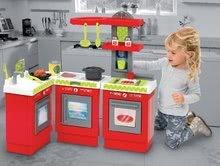 Obyčejné kuchyňky - Kuchyňka 3-Modules French Écoiffier 3dílná červeno-stříbrná s 21 doplňky od 18 měsíců_2