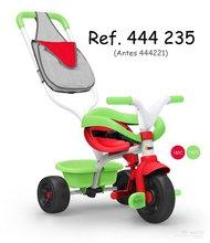 Trojkolka s ohrádkou Be Fun Confort Smoby zeleno-červená s vodiacou tyčou voľnobehom a taškou od 10 mesiacov 444235