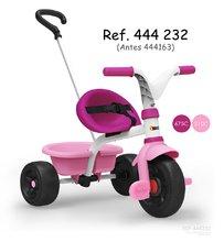 Trojkolka Be Fun Smoby ružovo-biela s vodiacou tyčou a voľnobehom od 15 mesiacov 444232