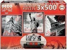 Puzzle Deco Big Cities Educa 3x500 delov od 11 leta