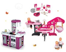 Set domček pre bábiku Baby Nurse Smoby trojkrídlový, bábika a kuchynka Tefal Studio XL s umývačkou riadu