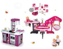Set domeček pro panenku Baby Nurse Smoby trojkřídlý, panenka a kuchyňka Tefal Studio XL s myčkou nádobí