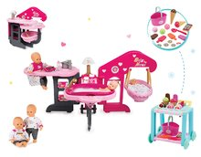 Set domček pre bábiku Baby Nurse Smoby trojkrídlový, bábika a vozík so zmrzlinou Délices s 22 doplnkami