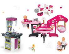 Set domeček pro panenku Baby Nurse Smoby trojkřídlý, panenka, kuchyňka Tefal Studio BBQ Bublinky elektronická