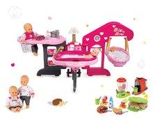Set domček pre bábiku Baby Nurse Smoby trojkrídlový, bábika a vaflovač s mixérom, kávovarom a vaflami