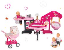 Set domček pre bábiku Baby Nurse Smoby trojkrídlový, bábika a kočík hlboký Zlatá edícia
